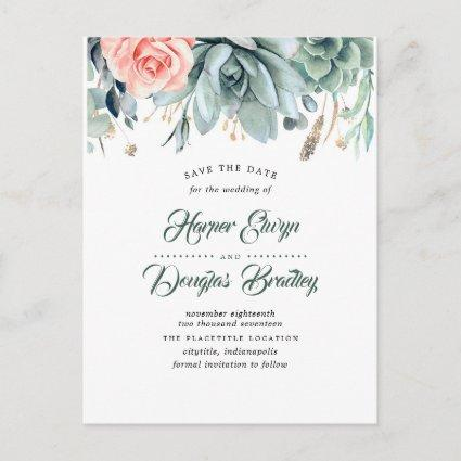 Succulents and Pink Rose Botanical Save the Date Announcement