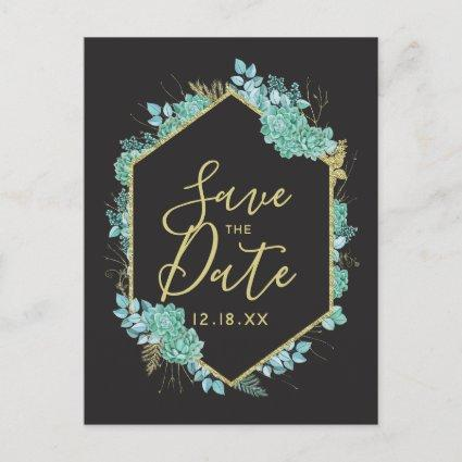 Succulents Gold Frame Any Color Save the Date Announcement