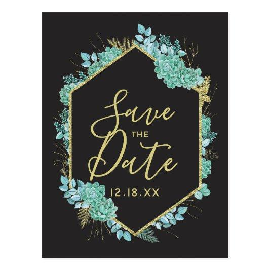 Succulents Gold Frame Any Color Save the Date Cards