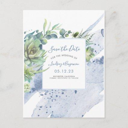 Succulents Greenery Dusty Blue Save the Date Announcement
