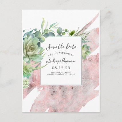 Succulents Greenery Rose Gold Save the Date Announcement