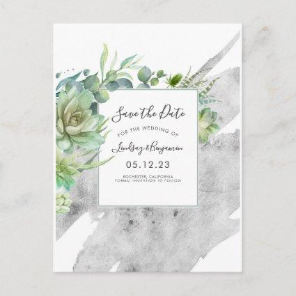 Succulents Greenery Silver Splatters Save the Date Announcement