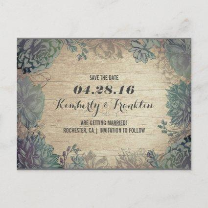 Succulents Rustic Floral Save the Date Announcement