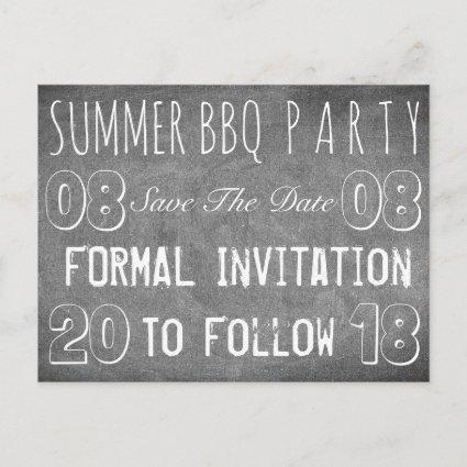 Summer BBQ Party Save The Date Chalkboard Announcement