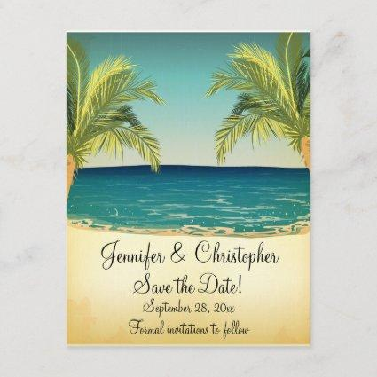Summer Beach and Palm Trees Wedding Save the Date