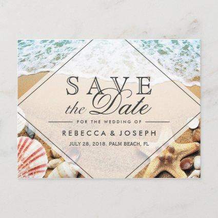 Summer Beach Photo Starfish Wedding Save the Date Announcements Cards