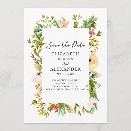 Summer flowers wedding invitation. Spring floral Save The Date