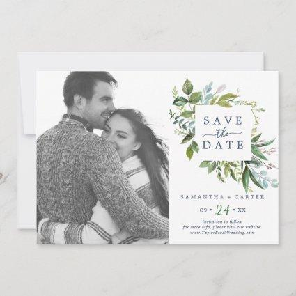 Summer Greenery Photo Save the Date Card