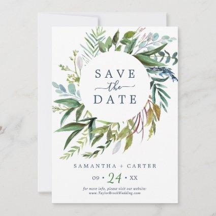 Summer Greenery | Pink Save the Date Card