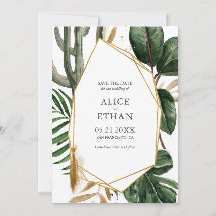 Summer Greenery with Gold Geometric Save The Date