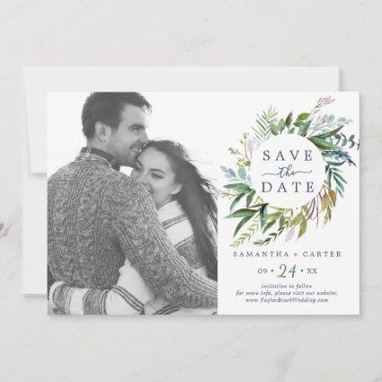 Summer Greenery Wreath Photo Save the Date Card