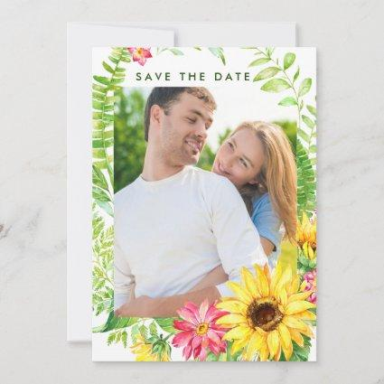 Summer Sunflower Photo Save the Date Cards
