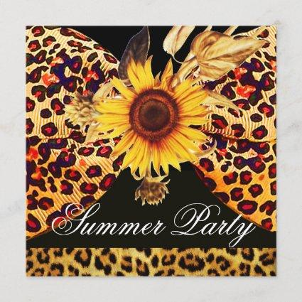 SUNFLOWER AND LEOPARD FUR BOW SUMMER GARDEN  PARTY INVITATION