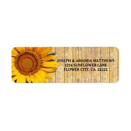 Sunflower And Wood Rustic Country Floral Label