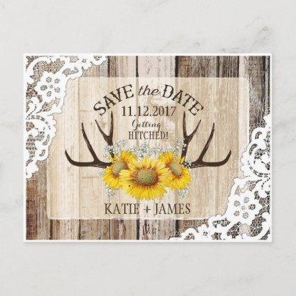 Sunflower Antlers Wood Lace Rustic Save the Date Announcement