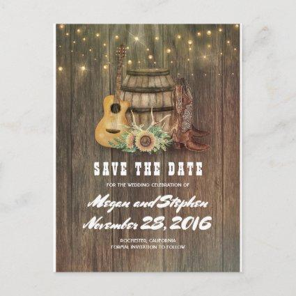 Sunflower Barrel Cowboy Boot Country Save the Date Announcement