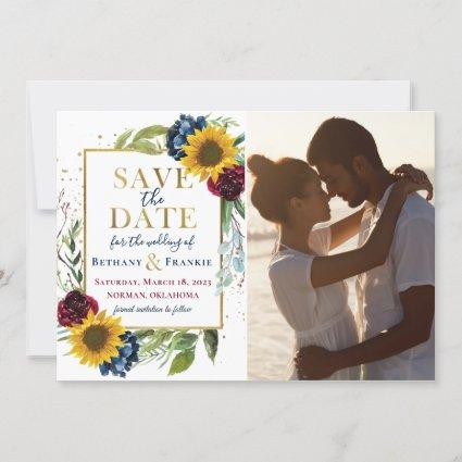 Sunflower Burgundy Blue Floral Photo Save The Date