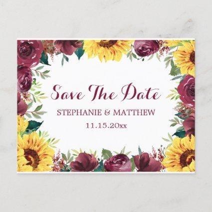 Sunflower Burgundy Rose Border Save The Date Announcement