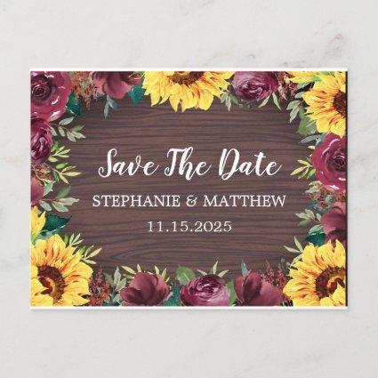 Sunflower Burgundy Rose Border Wood Save The Date Announcement