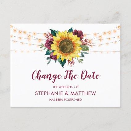 Sunflower Burgundy Rose Lights ChangeThe Date Announcement