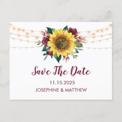 Sunflower Burgundy Rose Lights Save The Date Announcement