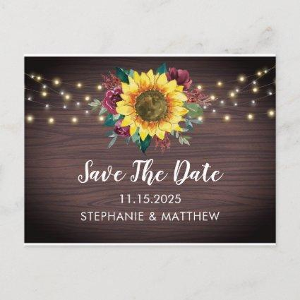 Sunflower Burgundy Rose Lights Wood Save The Date Announcement