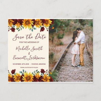 Sunflower Burgundy Rustic Country Save the Date Announcement