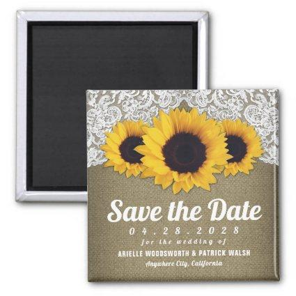 Sunflower Burlap and Lace Save the Date Magnets