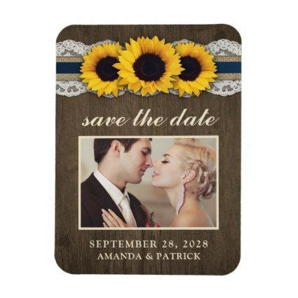 Sunflower Burlap Lace Photo Save the Date Magnets