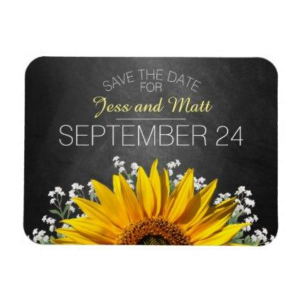 Sunflower Chalkboard | Save the Date Magnets