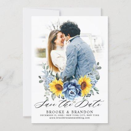 Sunflower Dusty Blue Slate Peony Floral Photo Save The Date