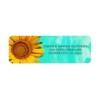 Sunflower Floral Blue Green Watercolor Label