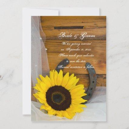 Sunflower Horseshoe Western Wedding Save the Date