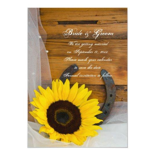 Sunflower Horseshoe Western Wedding Save the Date 5x7 Paper Invitation Card