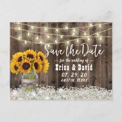 Sunflower Jar Rustic Floral Wedding Save the Date Announcement