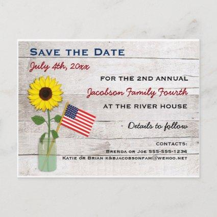 Sunflower July 4th Party or Reunion Save the Date Announcement