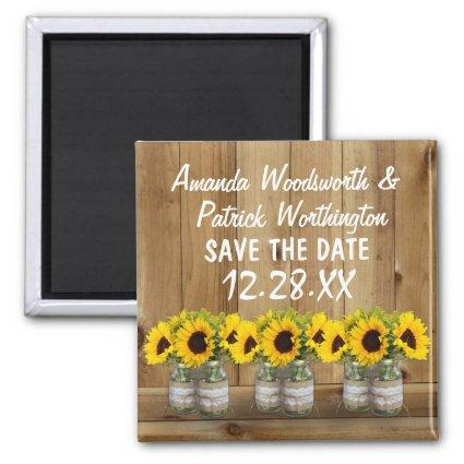 Sunflower Mason Jar Burlap and Lace Save the Date Magnet