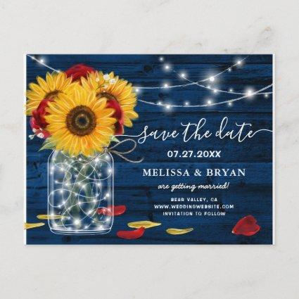 Sunflower Navy Blue Red Rose Rustic Save the Date Announcement