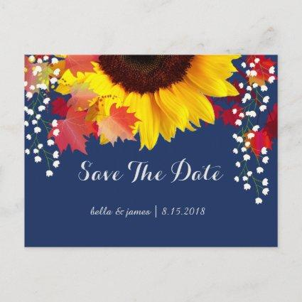 Sunflower Navy Blue Save The Date Cards