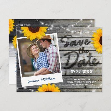 Sunflower Photo Gray Rustic Wedding Save the Date Announcement