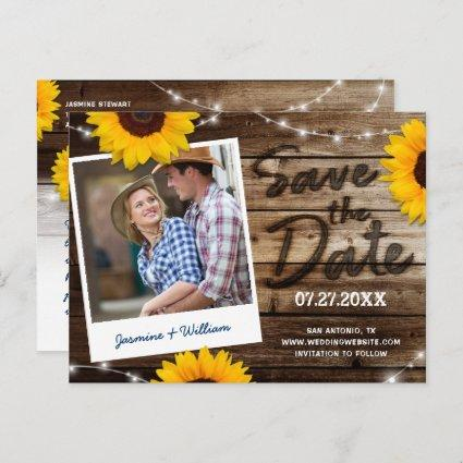 Sunflower Photo Rustic Wood Wedding Save the Date Announcement