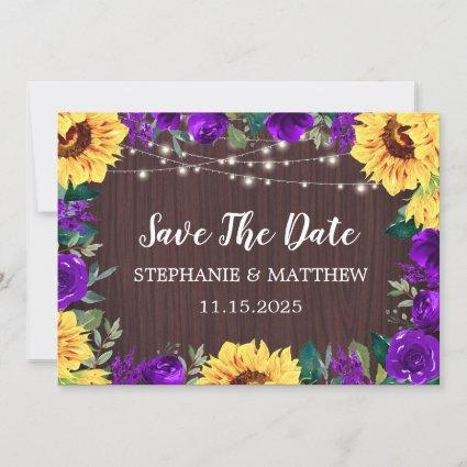 Sunflower Purple Floral Wood Wedding Save The Date