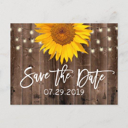 Sunflower Rustic Barn Wedding Save the Date Announcement