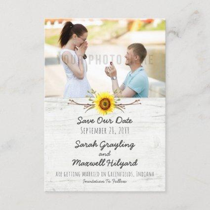 Sunflower & Rustic Wood Farm Wedding Save The Date