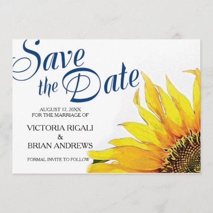 Sunflower Save The Date ~ Navy Blue Yellow