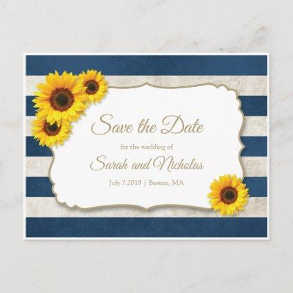 Sunflower Stripes Save the Date, Navy Blue Wedding Announcement