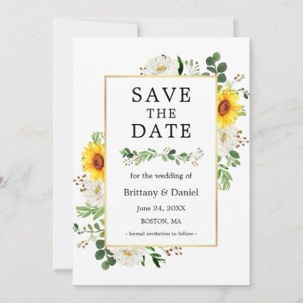 Sunflower White Floral Greenery Save The Date Card
