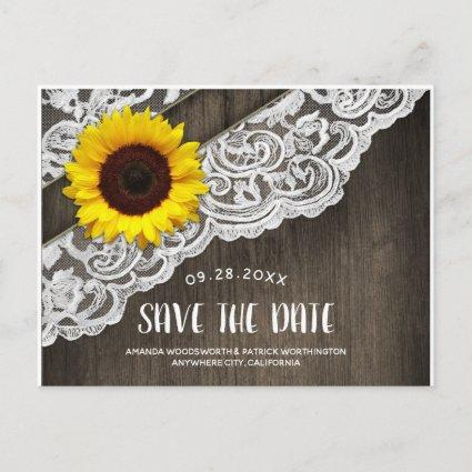 Sunflower Wood + Lace Wedding Save The Date Cards