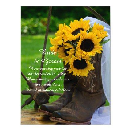 Sunflowers and Cowboy Boots Wedding Save the Date Magnetic Invitation