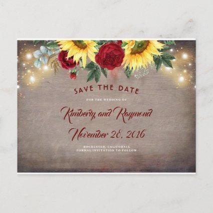 Sunflowers and Red Flowers Fall Save the Date Announcement